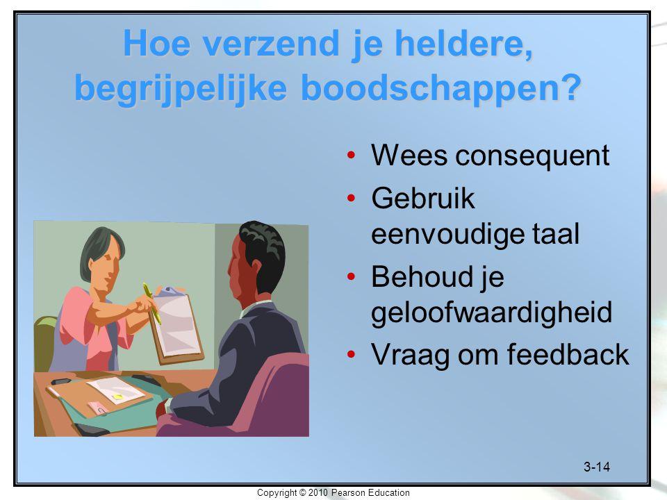 3-14 Copyright © 2010 Pearson Education Hoe verzend je heldere, begrijpelijke boodschappen? Wees consequent Gebruik eenvoudige taal Behoud je geloofwa