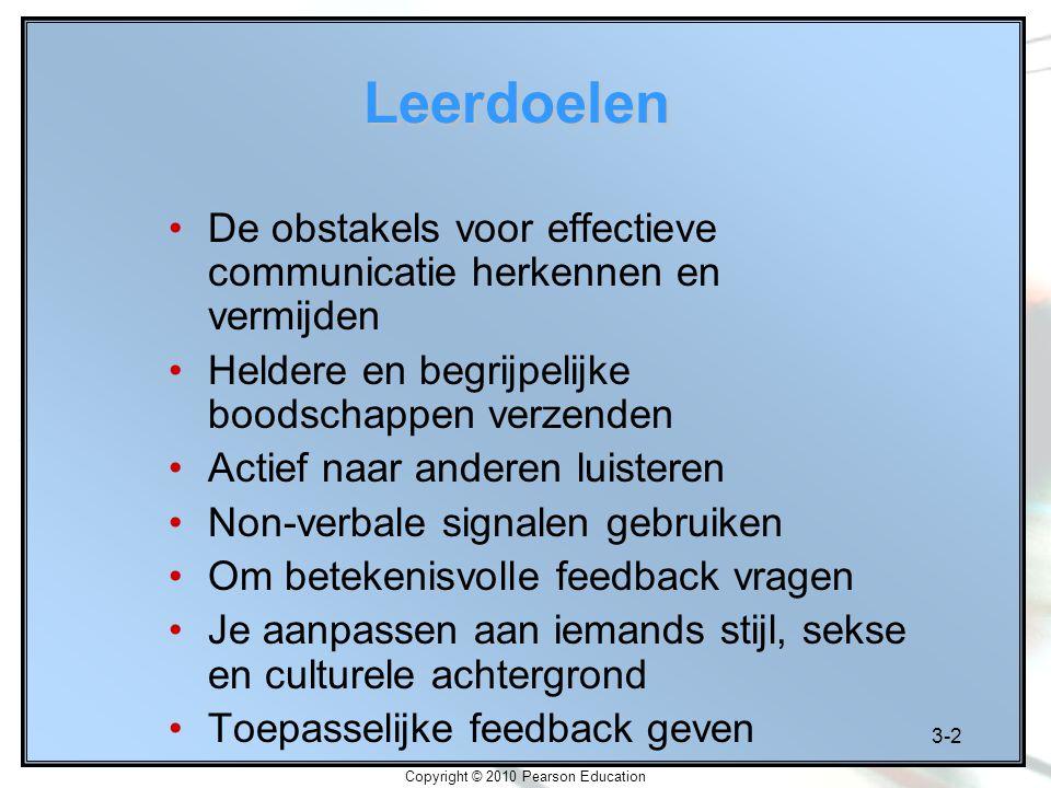 3-3 Copyright © 2010 Pearson Education Veelvoorkomende communicatieproblemen Woorden hebben niet voor iedereen hetzelfde betekenen Boodschap verzenden is geen garantie dat zij ontvangen of juist begrepen wordt Boodschappen worden vaak vervormd
