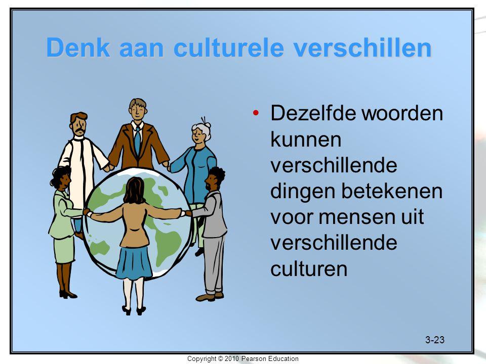 3-23 Copyright © 2010 Pearson Education Denk aan culturele verschillen Dezelfde woorden kunnen verschillende dingen betekenen voor mensen uit verschil