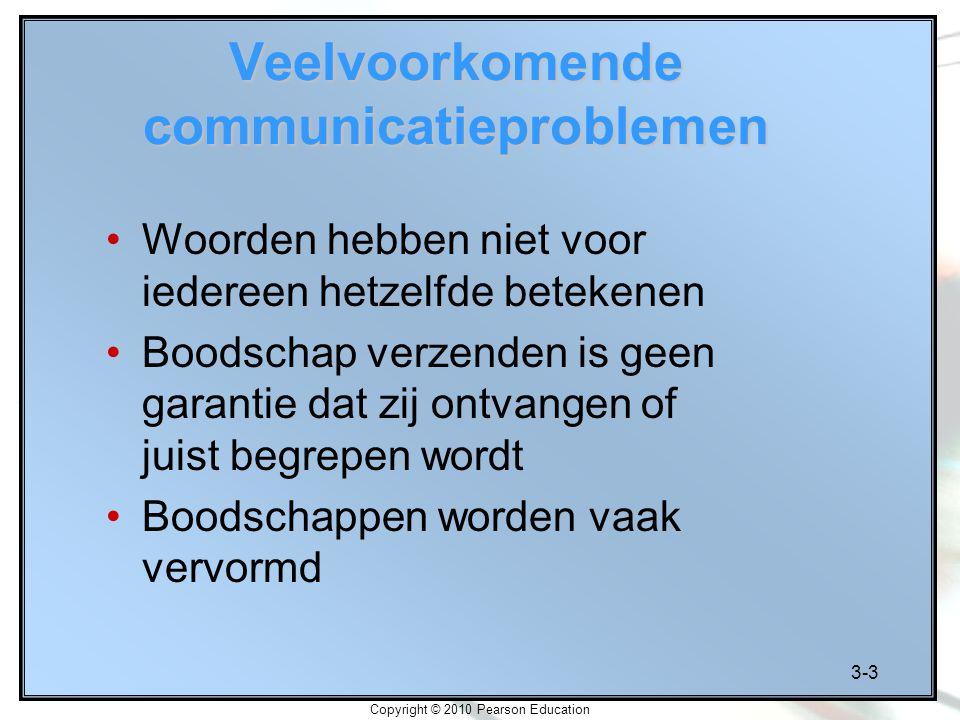 3-3 Copyright © 2010 Pearson Education Veelvoorkomende communicatieproblemen Woorden hebben niet voor iedereen hetzelfde betekenen Boodschap verzenden