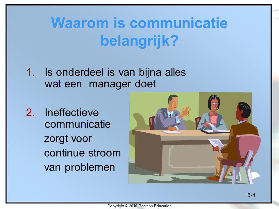 3-4 Copyright © 2010 Pearson Education Waarom is communicatie belangrijk? 1.Is onderdeel is van bijna alles wat een manager doet 2.Ineffectieve commun