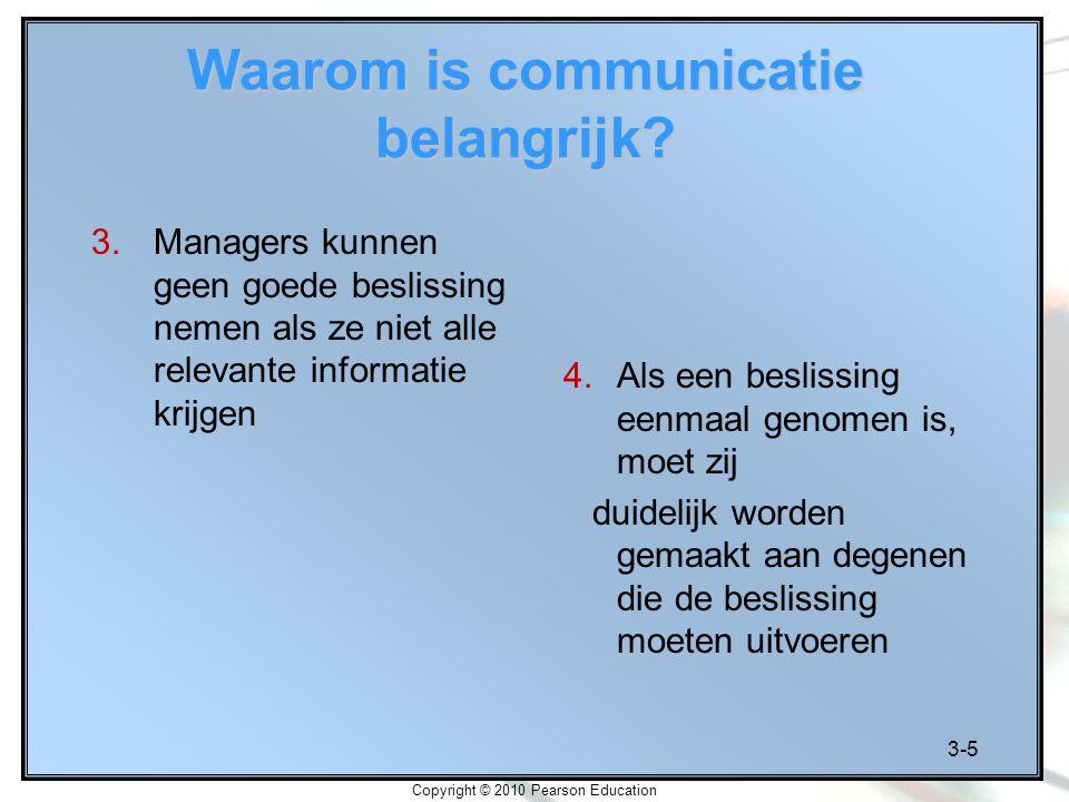 3-5 Copyright © 2010 Pearson Education Waarom is communicatie belangrijk? 3.Managers kunnen geen goede beslissing nemen als ze niet alle relevante inf