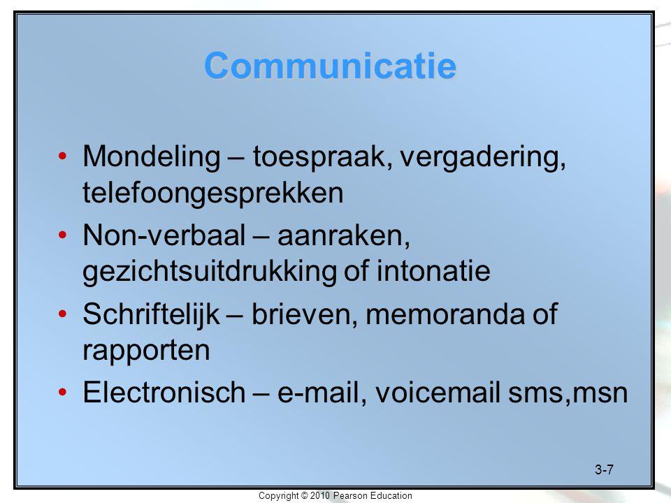 3-7 Copyright © 2010 Pearson Education Communicatie Mondeling – toespraak, vergadering, telefoongesprekken Non-verbaal – aanraken, gezichtsuitdrukking