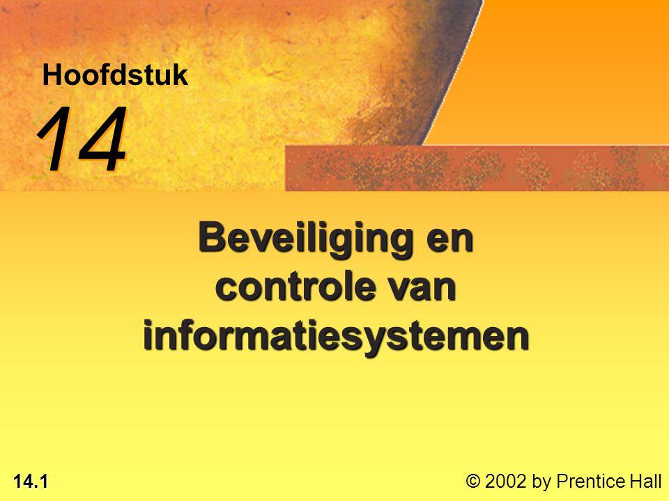 14.1 © 2002 by Prentice Hall Hoofdstuk 14 Beveiliging en controle van informatiesystemen