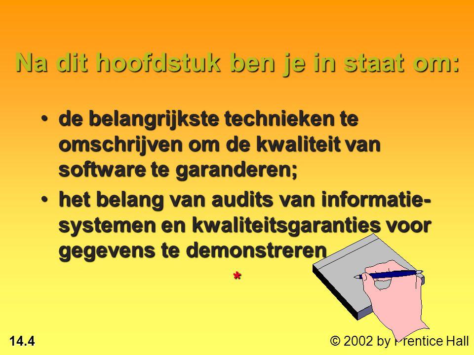 14.14 © 2002 by Prentice Hall Aandachtspunten voor systeembouwers en gebruikers RampenBeveiligingFouten*