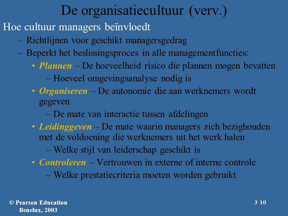 De organisatiecultuur (verv.) Hoe cultuur managers beïnvloedt –Richtlijnen voor geschikt managersgedrag –Beperkt het beslissingsproces in alle managem