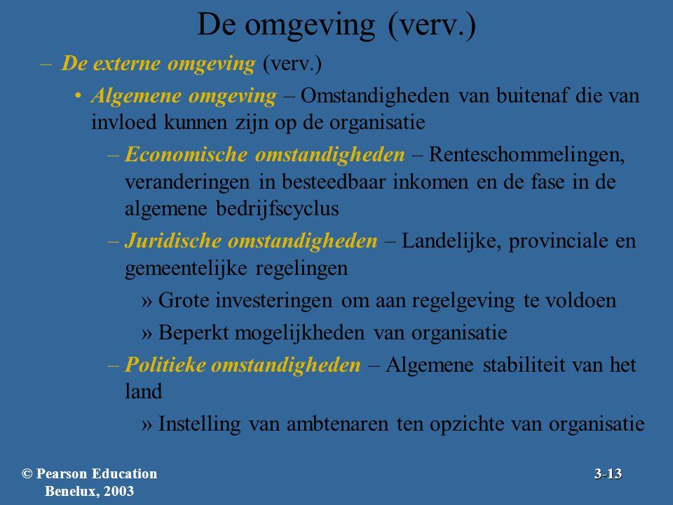 De omgeving (verv.) –De externe omgeving (verv.) Algemene omgeving – Omstandigheden van buitenaf die van invloed kunnen zijn op de organisatie –Econom
