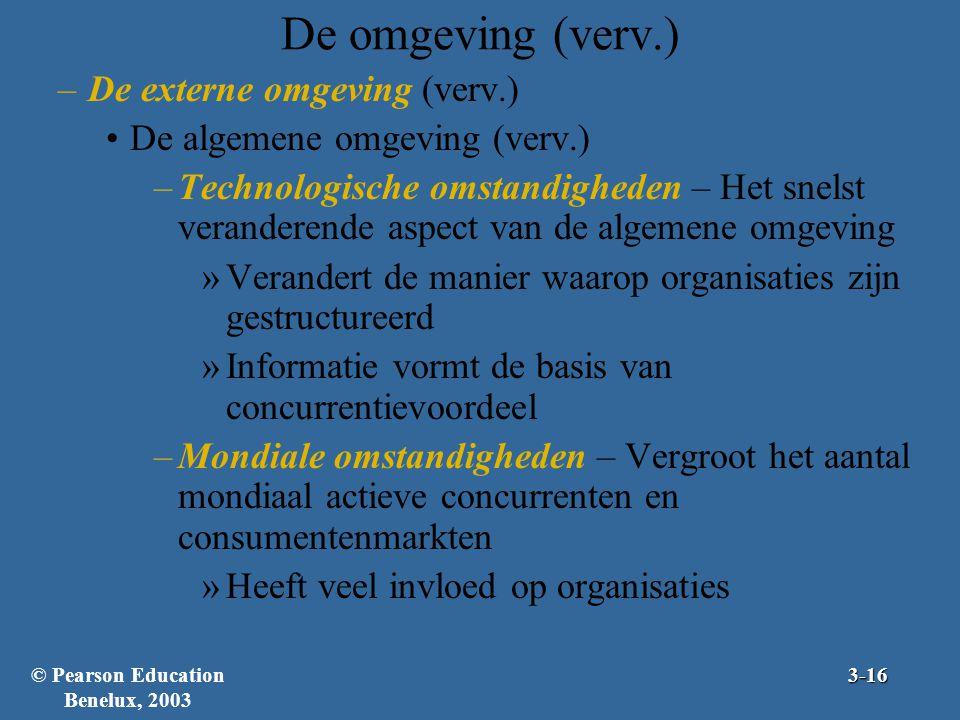 De omgeving (verv.) –De externe omgeving (verv.) De algemene omgeving (verv.) –Technologische omstandigheden – Het snelst veranderende aspect van de a
