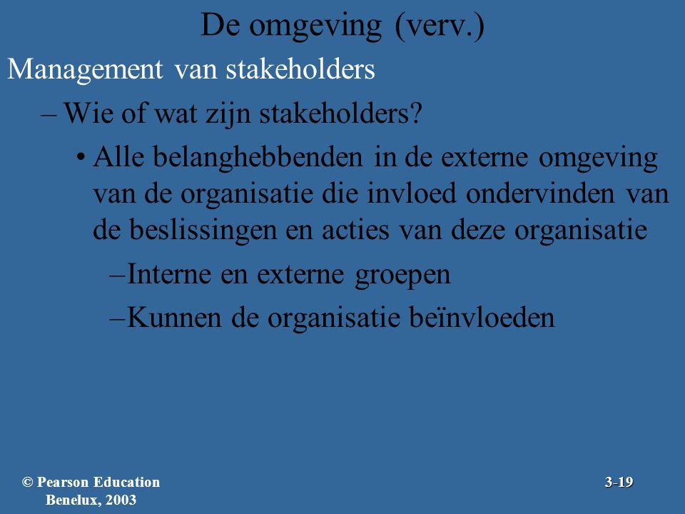 De omgeving (verv.) Management van stakeholders –Wie of wat zijn stakeholders? Alle belanghebbenden in de externe omgeving van de organisatie die invl