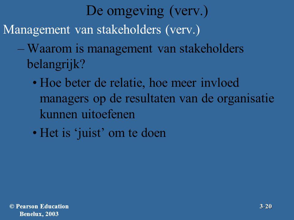 De omgeving (verv.) Management van stakeholders (verv.) –Waarom is management van stakeholders belangrijk? Hoe beter de relatie, hoe meer invloed mana