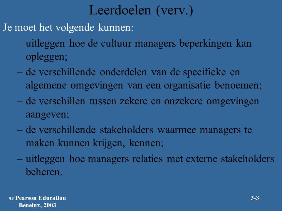 Leerdoelen (verv.) Je moet het volgende kunnen: –uitleggen hoe de cultuur managers beperkingen kan opleggen; –de verschillende onderdelen van de speci