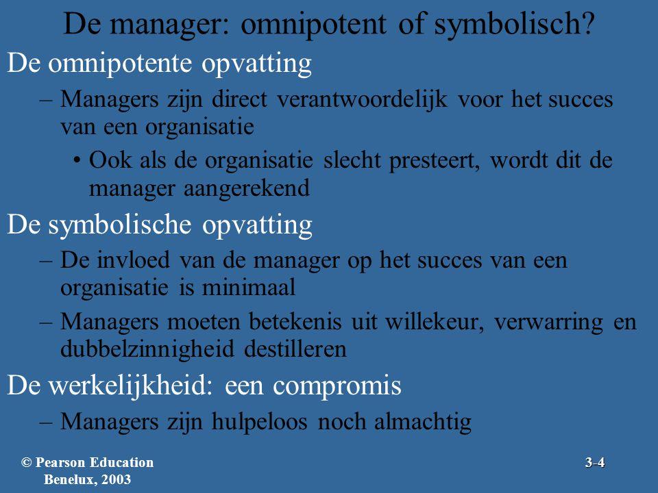 De manager: omnipotent of symbolisch? De omnipotente opvatting –Managers zijn direct verantwoordelijk voor het succes van een organisatie Ook als de o