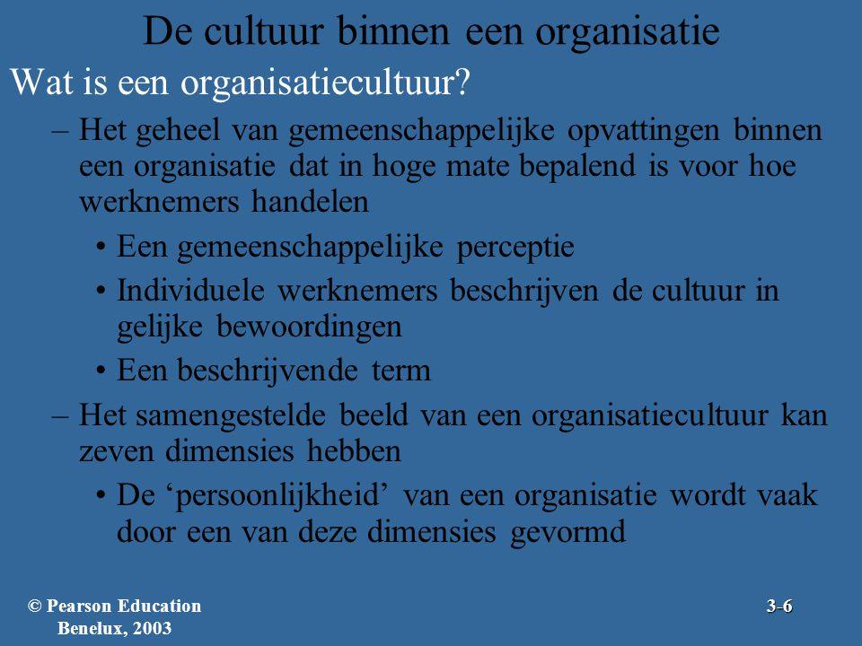 De cultuur binnen een organisatie Wat is een organisatiecultuur? –Het geheel van gemeenschappelijke opvattingen binnen een organisatie dat in hoge mat
