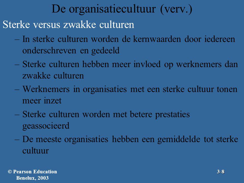 De organisatiecultuur (verv.) Sterke versus zwakke culturen –In sterke culturen worden de kernwaarden door iedereen onderschreven en gedeeld –Sterke c