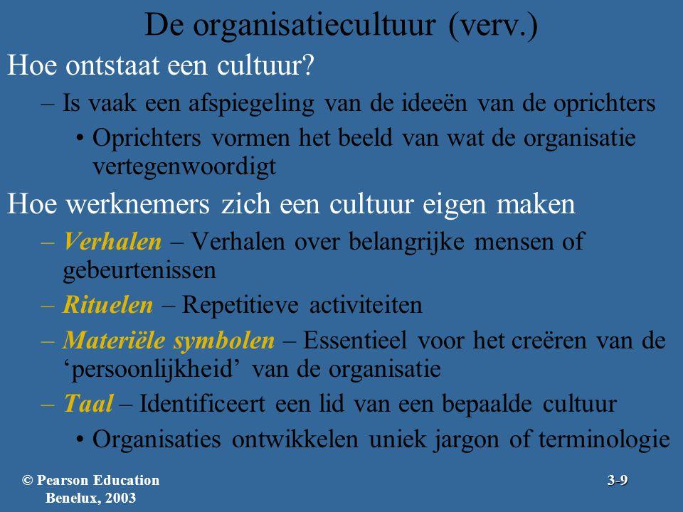 De organisatiecultuur (verv.) Hoe ontstaat een cultuur? –Is vaak een afspiegeling van de ideeën van de oprichters Oprichters vormen het beeld van wat