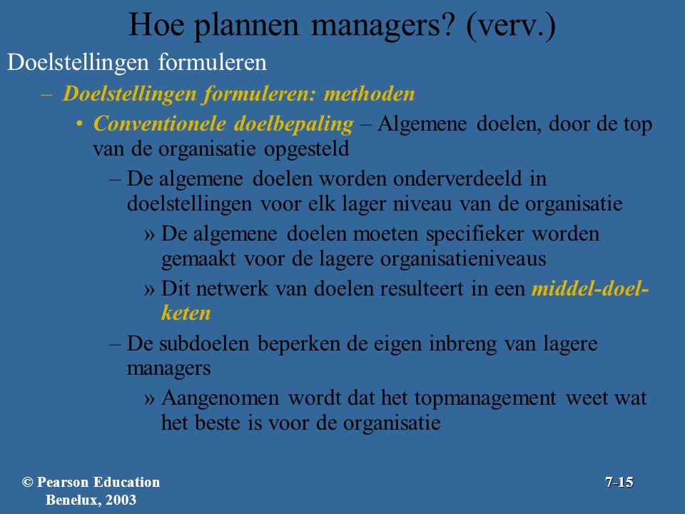 Hoe plannen managers? (verv.) Doelstellingen formuleren –Doelstellingen formuleren: methoden Conventionele doelbepaling – Algemene doelen, door de top