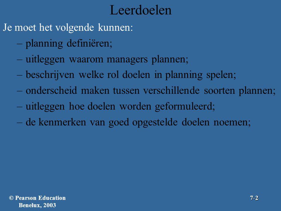 Leerdoelen Je moet het volgende kunnen: –planning definiëren; –uitleggen waarom managers plannen; –beschrijven welke rol doelen in planning spelen; –o