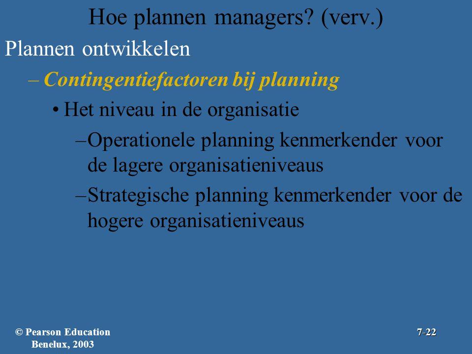 Hoe plannen managers? (verv.) Plannen ontwikkelen –Contingentiefactoren bij planning Het niveau in de organisatie –Operationele planning kenmerkender