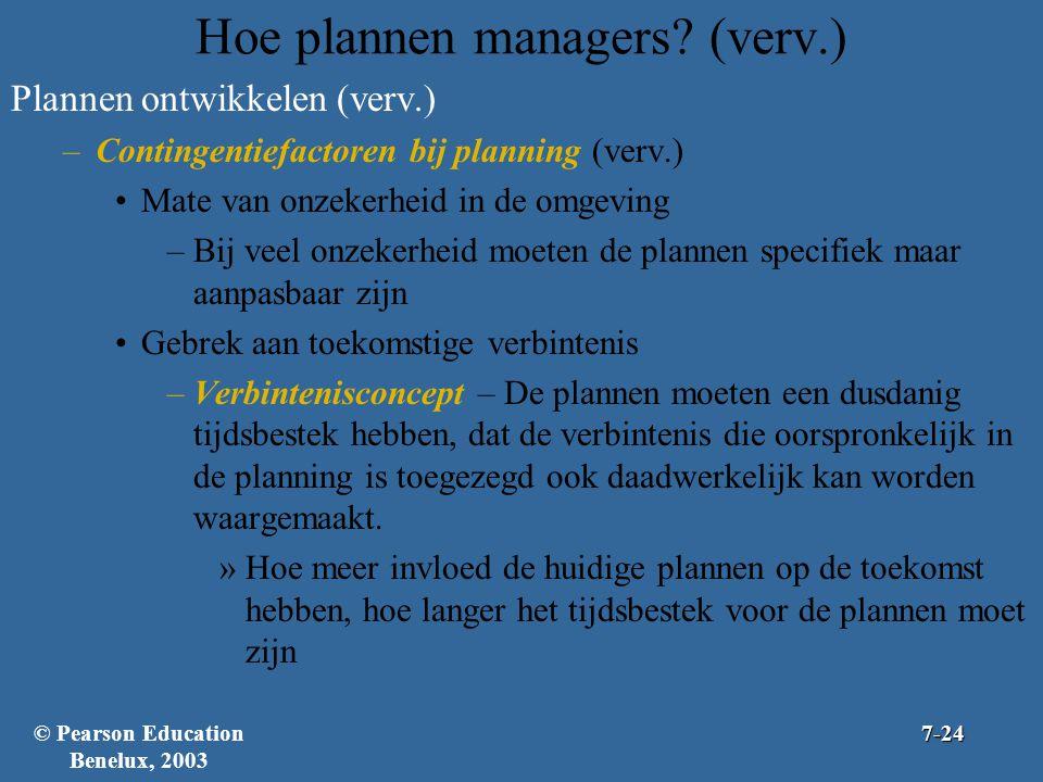 Hoe plannen managers? (verv.) Plannen ontwikkelen (verv.) –Contingentiefactoren bij planning (verv.) Mate van onzekerheid in de omgeving –Bij veel onz