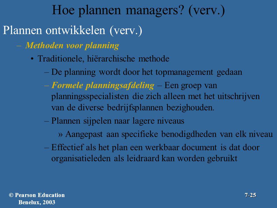 Hoe plannen managers? (verv.) Plannen ontwikkelen (verv.) –Methoden voor planning Traditionele, hiërarchische methode –De planning wordt door het topm