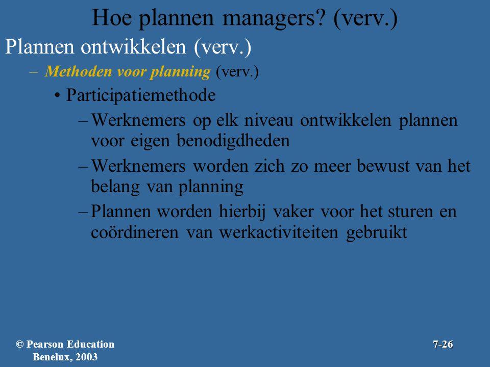 Hoe plannen managers? (verv.) Plannen ontwikkelen (verv.) –Methoden voor planning (verv.) Participatiemethode –Werknemers op elk niveau ontwikkelen pl