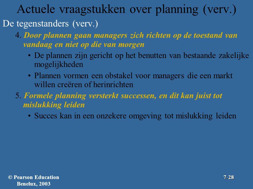 Actuele vraagstukken over planning (verv.) De tegenstanders (verv.) 4. Door plannen gaan managers zich richten op de toestand van vandaag en niet op d