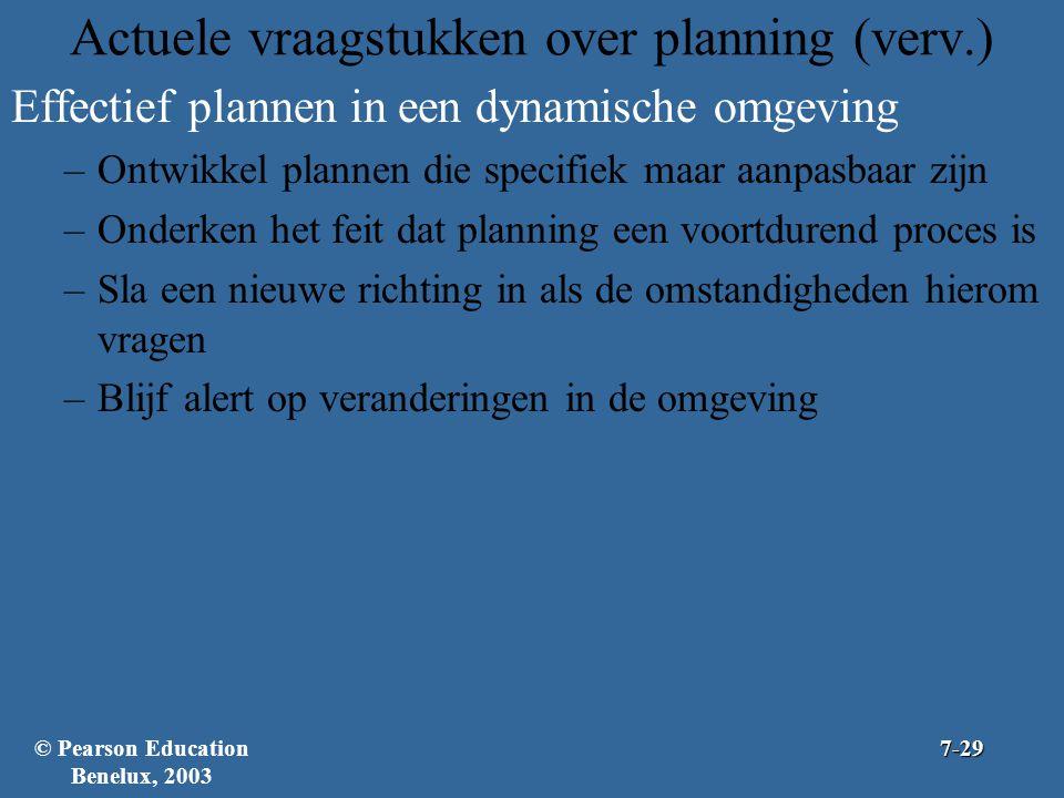 Actuele vraagstukken over planning (verv.) Effectief plannen in een dynamische omgeving –Ontwikkel plannen die specifiek maar aanpasbaar zijn –Onderke