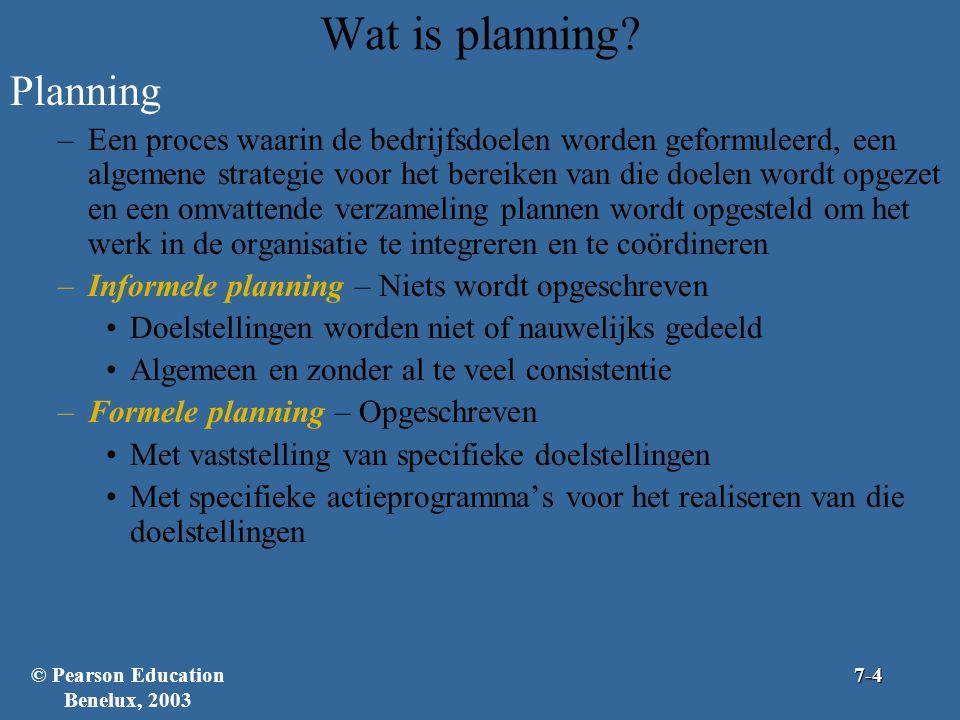 Wat is planning? Planning –Een proces waarin de bedrijfsdoelen worden geformuleerd, een algemene strategie voor het bereiken van die doelen wordt opge