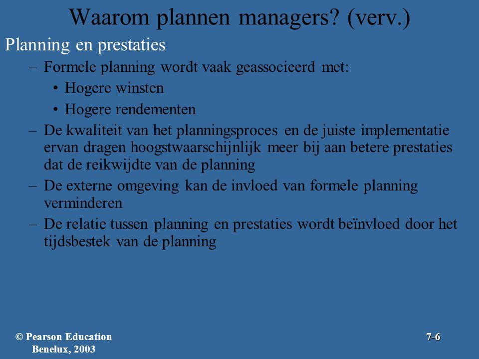 Waarom plannen managers? (verv.) Planning en prestaties –Formele planning wordt vaak geassocieerd met: Hogere winsten Hogere rendementen –De kwaliteit