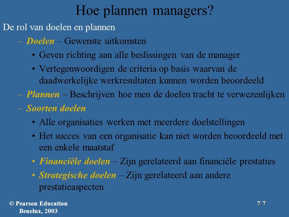 Hoe plannen managers? De rol van doelen en plannen –Doelen – Gewenste uitkomsten Geven richting aan alle beslissingen van de manager Vertegenwoordigen