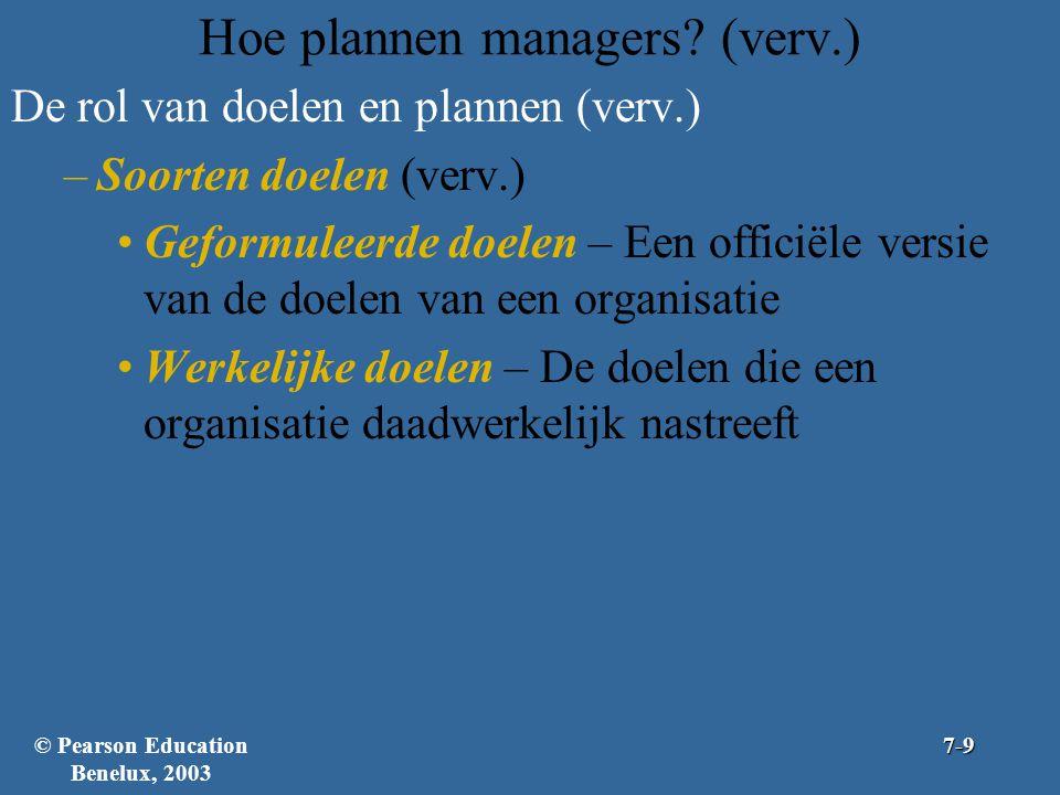 Hoe plannen managers? (verv.) De rol van doelen en plannen (verv.) –Soorten doelen (verv.) Geformuleerde doelen – Een officiële versie van de doelen v