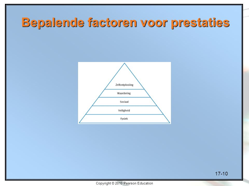 17-10 Copyright © 2010 Pearson Education Bepalende factoren voor prestaties