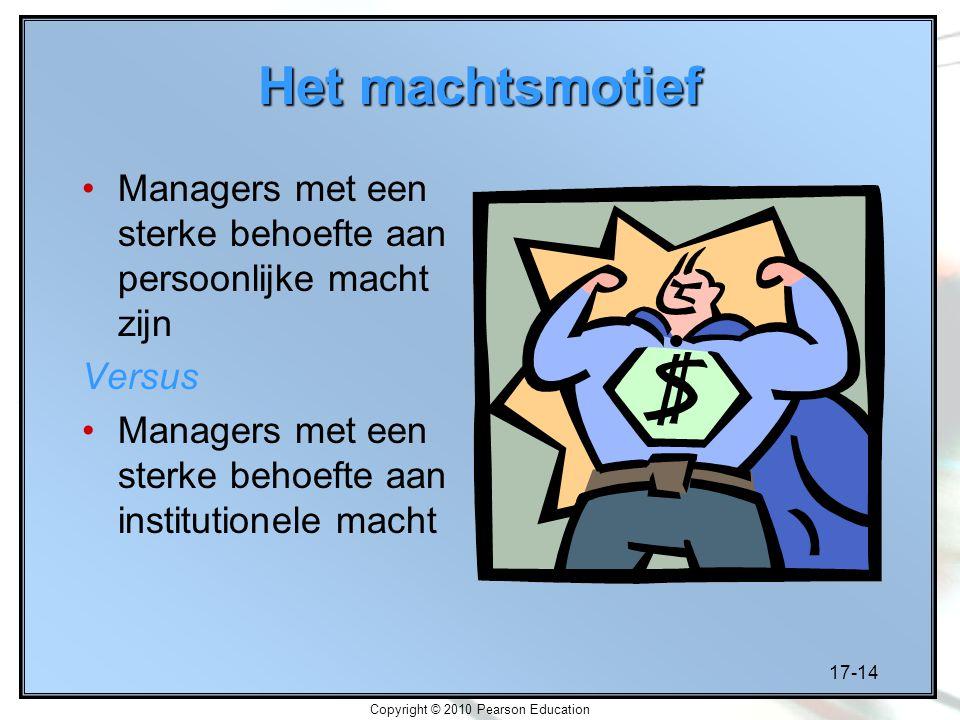 17-14 Copyright © 2010 Pearson Education Het machtsmotief Managers met een sterke behoefte aan persoonlijke macht zijn Versus Managers met een sterke