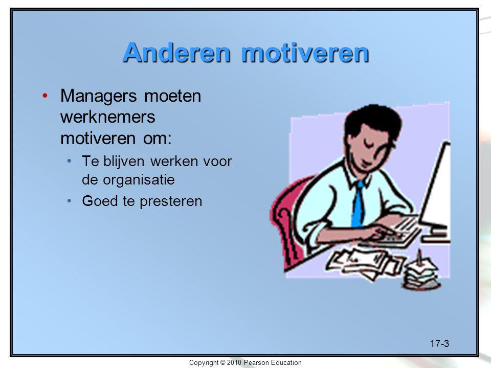 17-3 Copyright © 2010 Pearson Education Anderen motiveren Managers moeten werknemers motiveren om: Te blijven werken voor de organisatie Goed te prest
