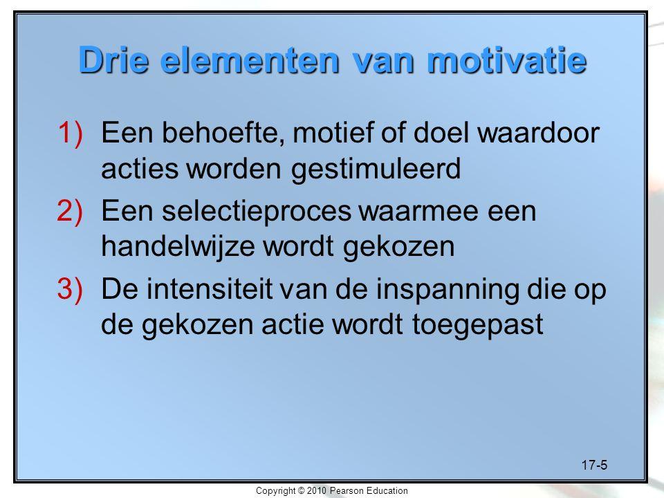 17-5 Copyright © 2010 Pearson Education Drie elementen van motivatie 1)Een behoefte, motief of doel waardoor acties worden gestimuleerd 2)Een selectie