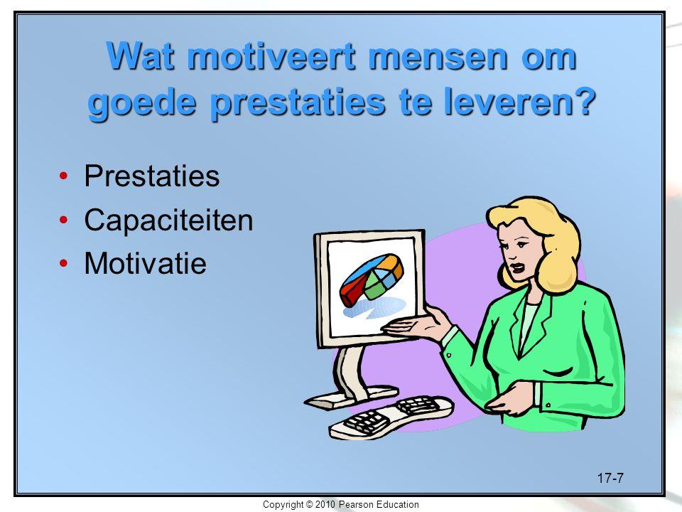 17-7 Copyright © 2010 Pearson Education Wat motiveert mensen om goede prestaties te leveren? Prestaties Capaciteiten Motivatie