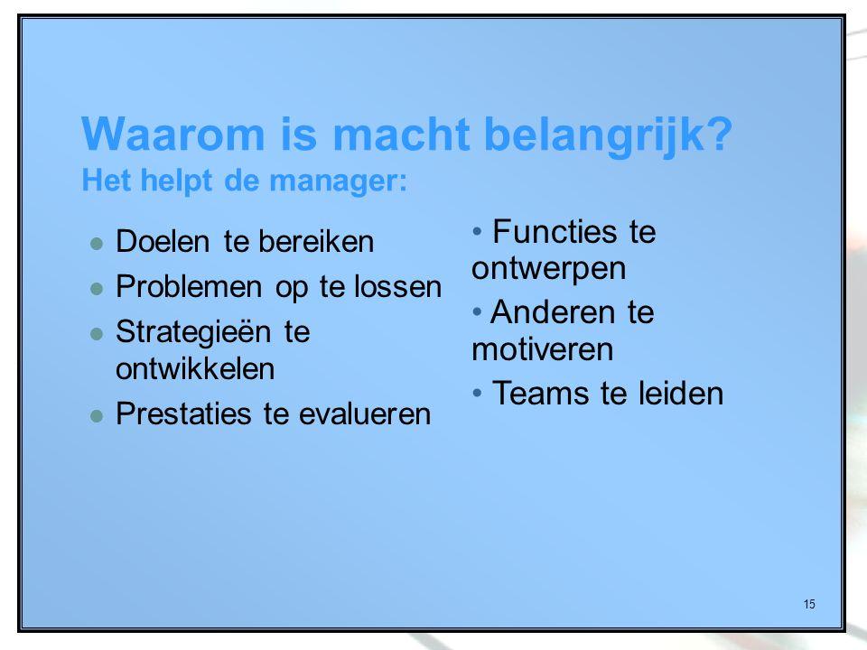 15 Waarom is macht belangrijk? Het helpt de manager: Doelen te bereiken Problemen op te lossen Strategieën te ontwikkelen Prestaties te evalueren Func