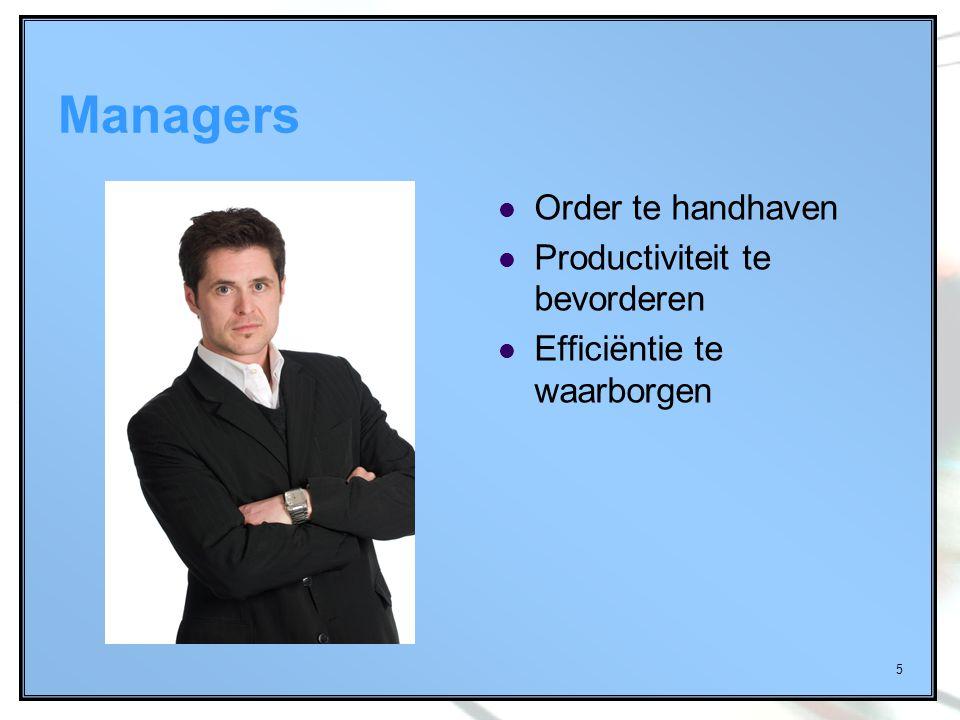 5 Managers Order te handhaven Productiviteit te bevorderen Efficiëntie te waarborgen