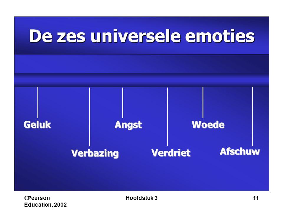  Pearson Education, 2002 Hoofdstuk 311 De zes universele emoties Geluk Verbazing Angst Verdriet Woede Afschuw