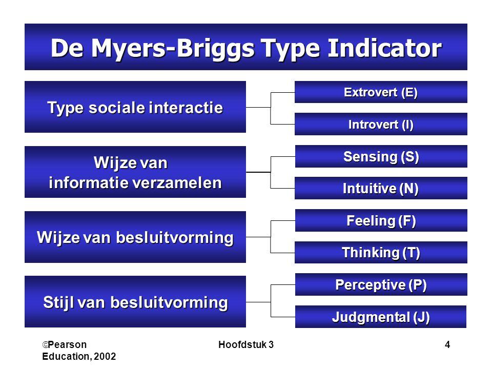  Pearson Education, 2002 Hoofdstuk 34 Stijl van besluitvorming Judgmental (J) Perceptive (P) Wijze van besluitvorming Thinking (T) Feeling (F) Type sociale interactie Introvert (I) Extrovert (E) Wijze van informatie verzamelen Intuitive (N) Sensing (S) De Myers-Briggs Type Indicator