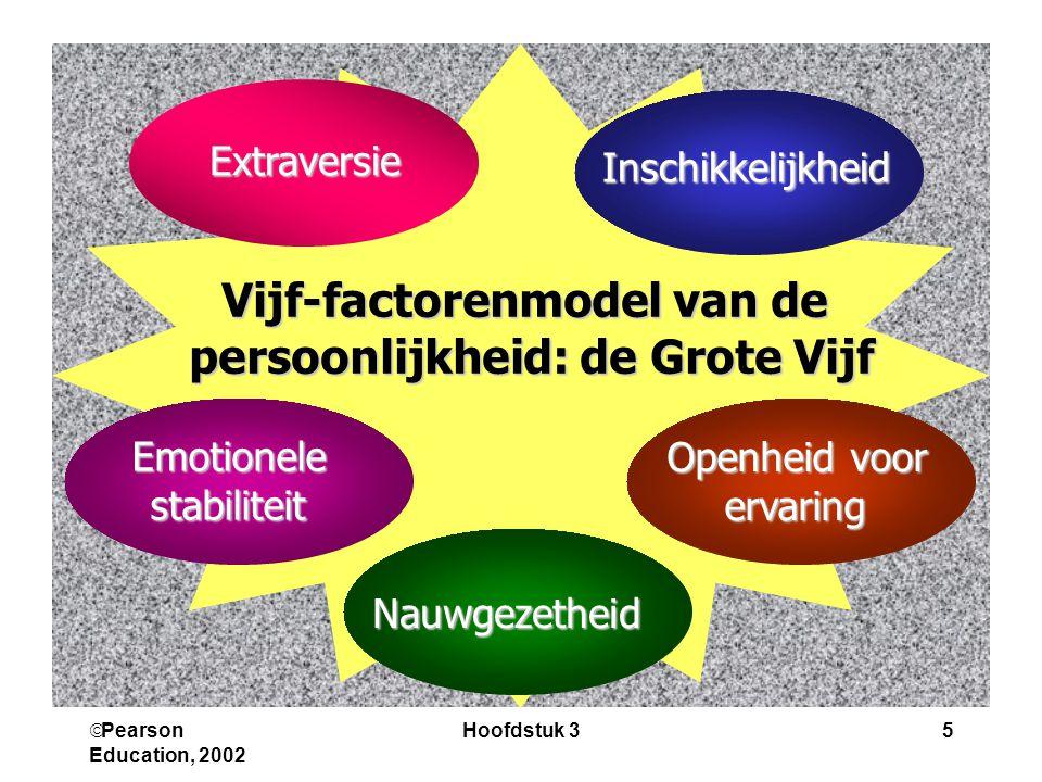  Pearson Education, 2002 Hoofdstuk 35 Vijf-factorenmodel van de persoonlijkheid: de Grote Vijf persoonlijkheid: de Grote Vijf Extraversie Inschikkelijkheid Nauwgezetheid Emotionelestabiliteit Openheid voor ervaring