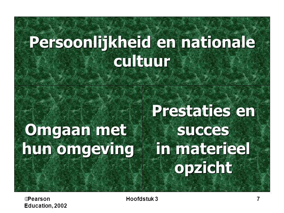  Pearson Education, 2002 Hoofdstuk 37 Persoonlijkheid en nationale cultuur Prestaties en succes in materieel opzicht Omgaan met hun omgeving