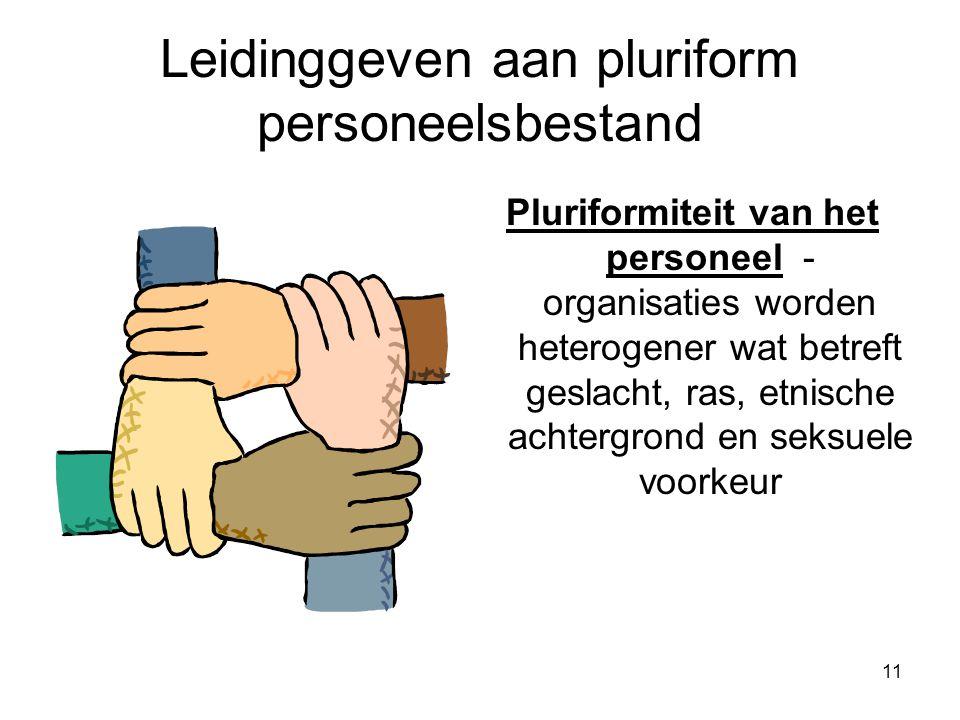 11 Leidinggeven aan pluriform personeelsbestand Pluriformiteit van het personeel - organisaties worden heterogener wat betreft geslacht, ras, etnische achtergrond en seksuele voorkeur