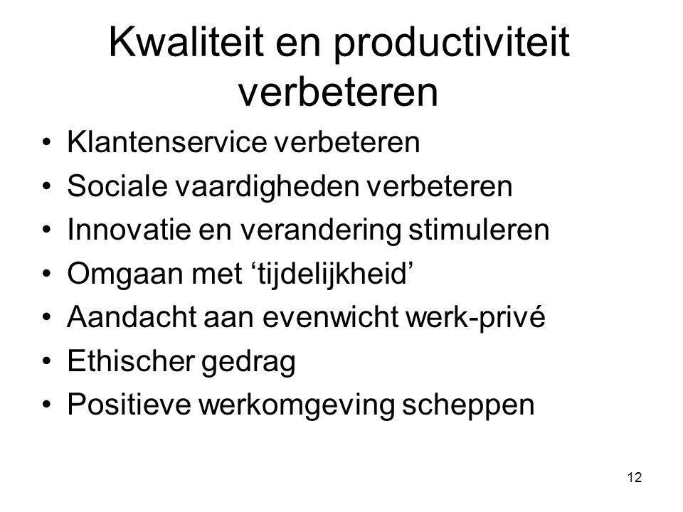 12 Kwaliteit en productiviteit verbeteren Klantenservice verbeteren Sociale vaardigheden verbeteren Innovatie en verandering stimuleren Omgaan met 'tijdelijkheid' Aandacht aan evenwicht werk-privé Ethischer gedrag Positieve werkomgeving scheppen