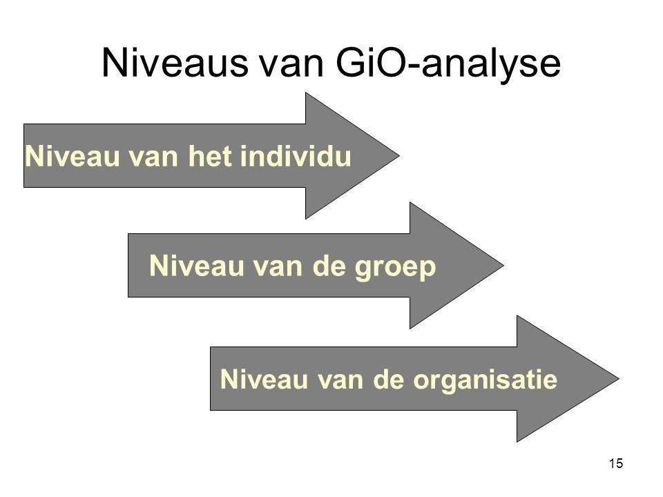 15 Niveaus van GiO-analyse Niveau van het individu Niveau van de groep Niveau van de organisatie