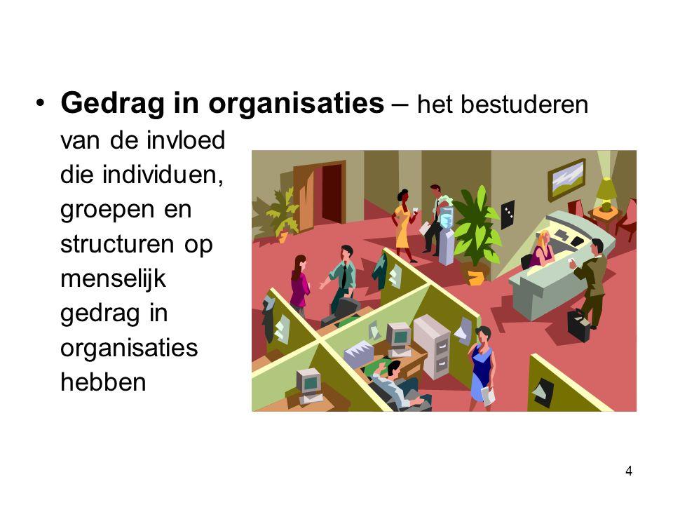 4 Gedrag in organisaties – het bestuderen van de invloed dieindividuen, groepen en structuren op menselijk gedrag in organisaties hebben