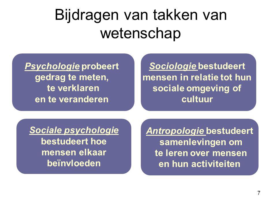 7 Psychologie probeert gedrag te meten, te verklaren en te veranderen Sociologie bestudeert mensen in relatie tot hun sociale omgeving of cultuur Antropologie bestudeert samenlevingen om te leren over mensen en hun activiteiten Sociale psychologie bestudeert hoe mensen elkaar beïnvloeden Bijdragen van takken van wetenschap