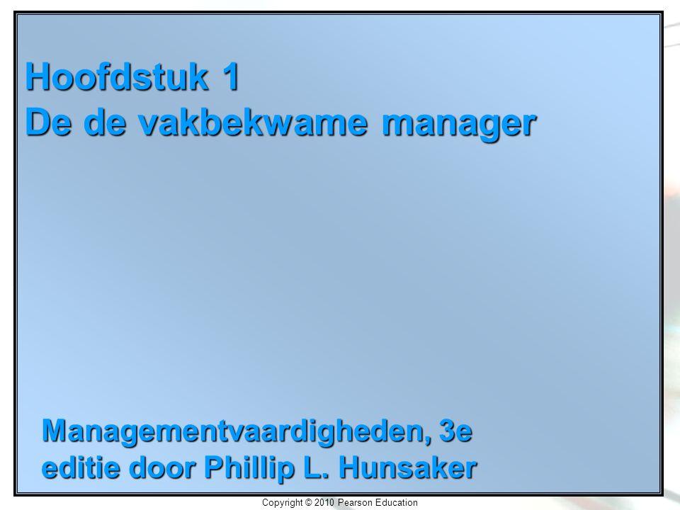 Copyright © 2010 Pearson Education Hoofdstuk 1 De de vakbekwame manager Managementvaardigheden, 3e editie door Phillip L.