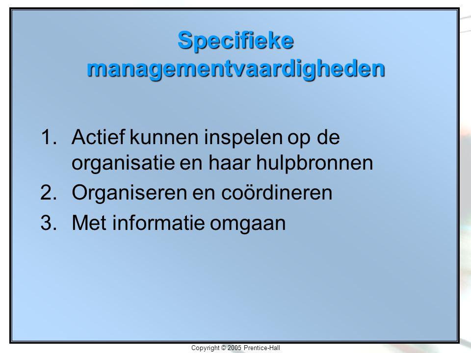 Copyright © 2005 Prentice-Hall Specifieke managementvaardigheden 1.Actief kunnen inspelen op de organisatie en haar hulpbronnen 2.Organiseren en coördineren 3.Met informatie omgaan