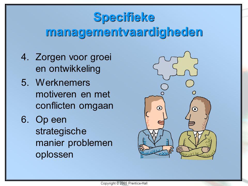 Copyright © 2005 Prentice-Hall Specifieke managementvaardigheden 4.Zorgen voor groei en ontwikkeling 5.Werknemers motiveren en met conflicten omgaan 6.Op een strategische manier problemen oplossen
